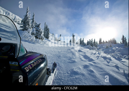 Snowmibiling up top Grey Mountain near Whitehorse - Stock Photo