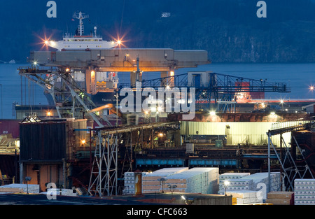 container ship loaded supplies Campbell River's - Stock Photo