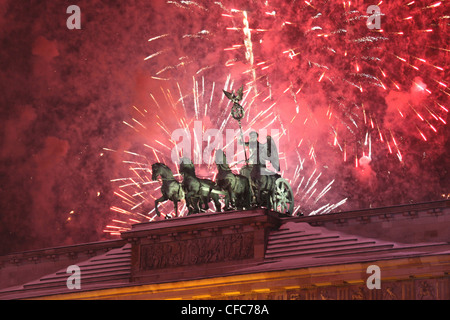 Quadriga on New Years Eve at Brandenburg Gate, Berlin, Germany, Europe - Stock Photo