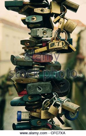 Love Padlocks (Love Locks) in Prague - Stock Photo