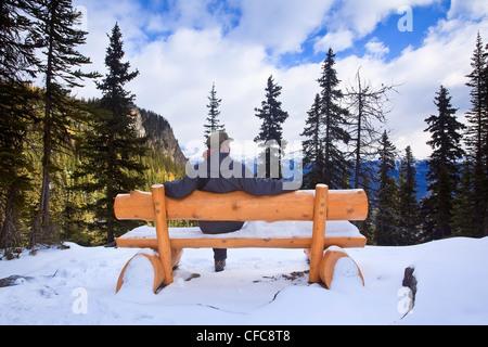 Man sitting log bench overlooking Valley Lake - Stock Photo