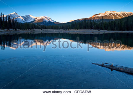 Sunrise at Forget-Me-Not Pond, Elbow Valley, Kananaskis Country, Alberta, Canada - Stock Photo