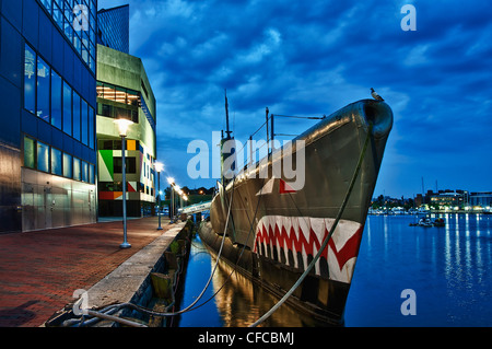 USS Torsk, Submarine Memorial, Inner Harbor, Barltimore, Maryland, USA - Stock Photo