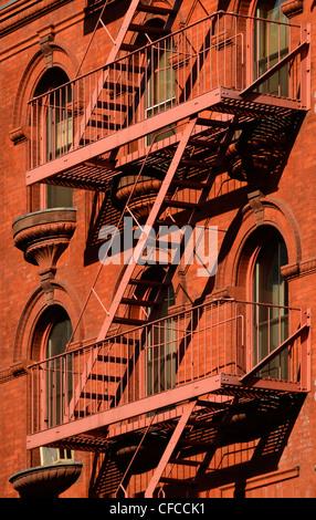 Fire Escape, Tribeca, Manhattan, New York City, New York - Stock Photo