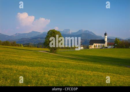 St. Marinus pilgrimage church, Wilparting, Irschenberg, Wendelstein, Bavaria, Germany, Europe - Stock Photo