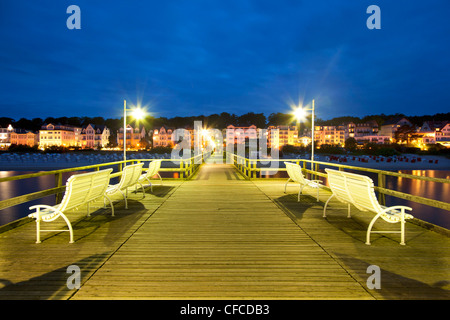 Benches on the pier in the evening, Bansin seaside resort, Usedom island, Baltic Sea, Mecklenburg-West Pomerania, - Stock Photo