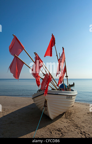 Fishing boat on the beach, Bansin seaside resort, Usedom island, Baltic Sea, Mecklenburg-West Pomerania, Germany - Stock Photo