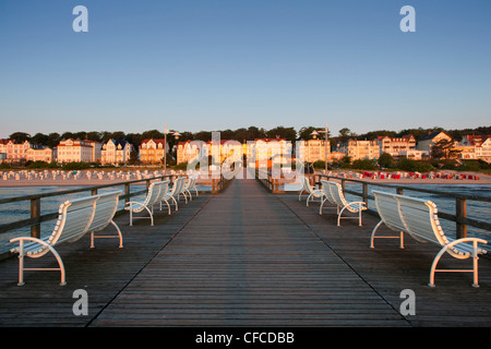 Benches on the pier, Bansin seaside resort, Usedom island, Baltic Sea, Mecklenburg-West Pomerania, Germany - Stock Photo