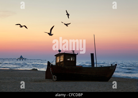 Seagulls above a cutter, view towards the pier, Heringsdorf seaside resort, Usedom island, Baltic Sea, Mecklenburg - Stock Photo
