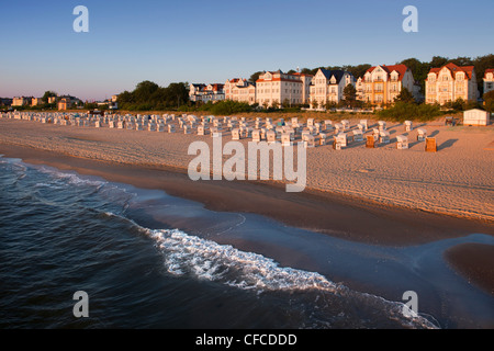 View from the pier to the seafront, Bansin seaside resort, Usedom island, Baltic Sea, Mecklenburg-West Pomerania, - Stock Photo