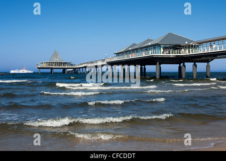 Pier at Heringsdorf seaside resort, Usedom island, Baltic Sea, Mecklenburg-West Pomerania, Germany - Stock Photo
