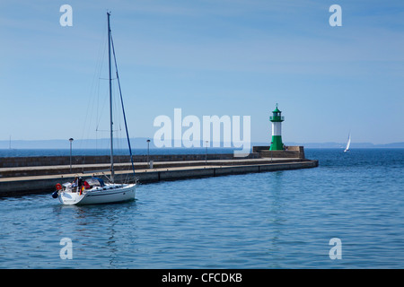 Lighthouse and sailing boats in the harbour, Sassnitz, Ruegen island, Baltic Sea, Mecklenburg-West Pomerania, Germany