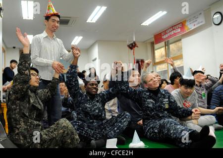 DONGHAE, Republic of Korea (March 4, 2012) Sailors assigned to the U.S. 7th Fleet flagship USS Blue Ridge (LCC 19) - Stock Photo