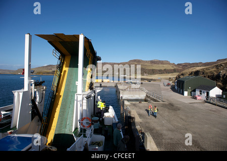 Caledonian MacBrayne Ferry Loch Nevis alongside the dock, Canna, Inner Hebrides, Scotland - Stock Photo