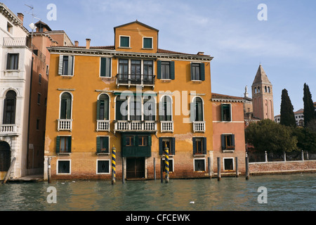 Facade of San Vidal Palace on Grand Canal - Venice, Venezia, Italy, Europe - Stock Photo