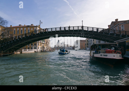 Academia bridge over Grand Canal, with Santa Maria della Salute church in the background - Venice, Venezia, Italy, - Stock Photo