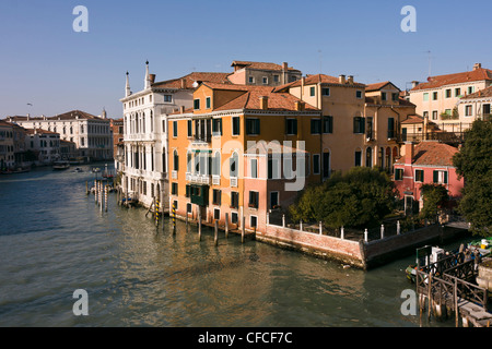 View from Academia bridge on Grand Canal - Venice, Venezia, Italy, Europe - Stock Photo