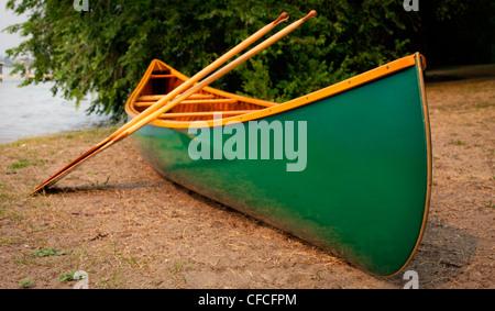 A portaged, green cedar canvas canoe and paddles. - Stock Photo