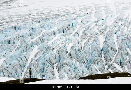 A young man stands in wonder in front of the Exit Glacier in Seward, Alaska. - Stock Photo