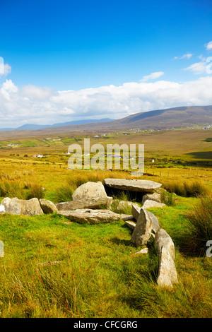 Slievemore dolmen in summer season on Achill Island, Ireland. - Stock Photo