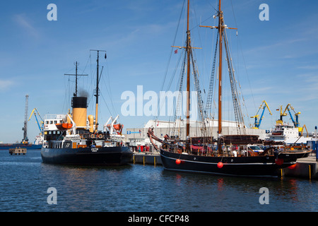 Ships in the harbour, Wismar, Baltic Sea, Mecklenburg Western-Pomerania, Germany - Stock Photo