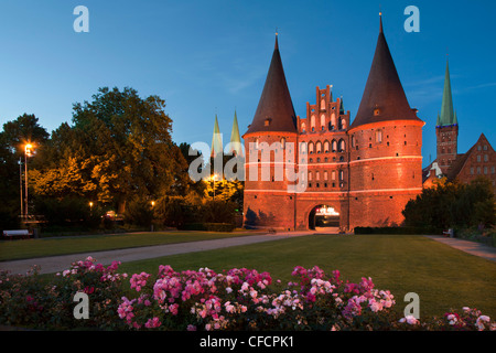 Holsten Gate, St Mary´s church and church of St Petri, Hanseatic city of Luebeck, Baltic Sea, Schleswig-Holstein, - Stock Photo