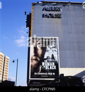 A billboard advertising the 2012 British horror movie The Woman in Black starring Daniel Radcliffe East London UK - Stock Photo