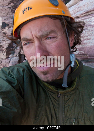 A man multi pitch climbing in Red Rocks, Las Vegas, Nevada, United States of America - Stock Photo