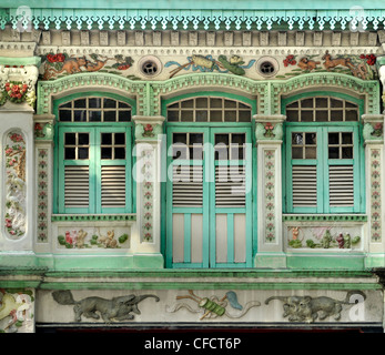 Facades of shophouses in Kichener Road, Singapore, Southeast Asia, Asia - Stock Photo