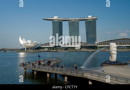 Marina Sands Resort and Casino and Merlion, Singapore, Southeast Asia, Asia - Stock Photo