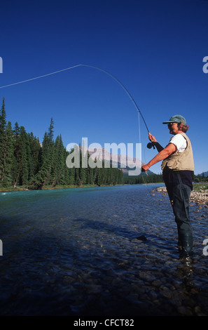 Near Lake Louise, woman fly fishes in river, Alberta, Canada. - Stock Photo