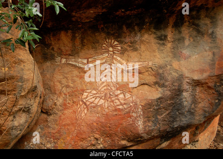 Aboriginal paintings in rock shelter in quartzite cliff, Nourlangie Rock, Kakadu National Park, Northern Territory, - Stock Photo