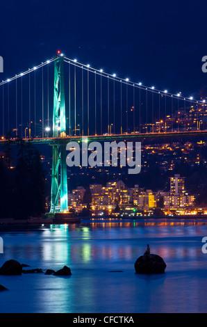 Lions Gate Bridge, Vancouver, British Columbia, Canada - Stock Photo