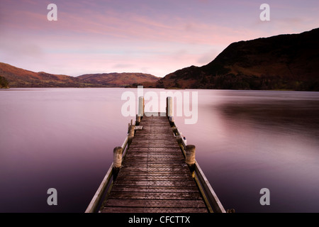 Jetty on Ullswater at dawn, Glenridding Village, Lake District National Park, Cumbria, England, United Kingdom, - Stock Photo