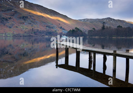 Jetty on Ullswater at dusk, Glenridding Village, Lake District National Park, Cumbria, England, United Kingdom, - Stock Photo