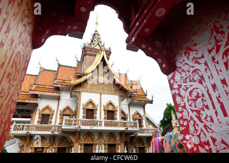 Exterior view of temple complex Wat Bupparam, Chiang Mai, Thailand, Asia - Stock Photo