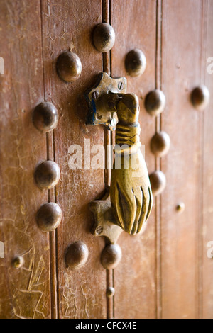 Brass Hand of Fatima door knocker, a popular symbol in Southern Morocco, Merzouga, Morocco, North Africa, Africa - Stock Photo