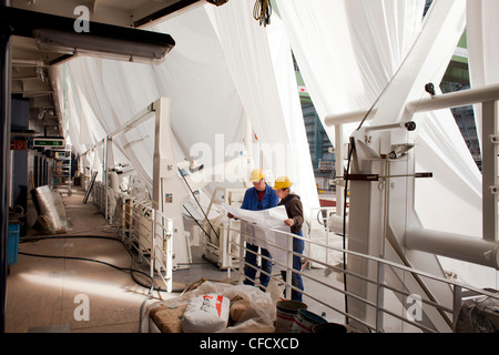 Assemblers reading construction plan, cruiser under construction in dry dock, Meyer Werft, Papenburg, Lower Saxony, - Stock Photo