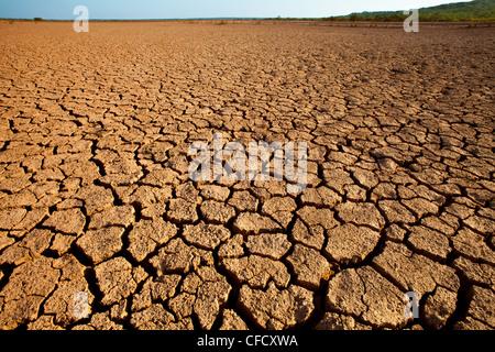 Cracked earth in Sarigua national park (desert) in Herrera province, Republic of Panama. - Stock Photo
