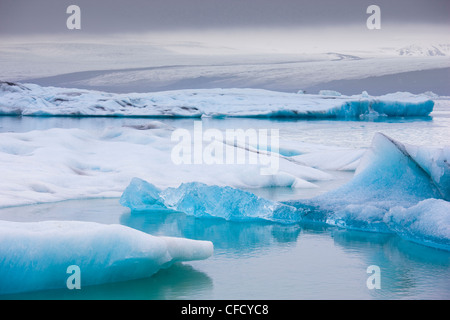 Icebergs,on the Jokulsarlon glacial lagoon, Iceland, Polar Regions - Stock Photo
