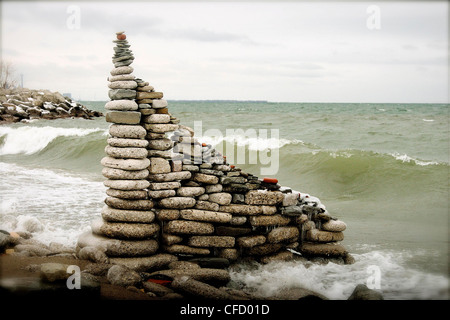Stacked rocks, Colonel Samuel Smith Park, Lake Ontario, Toronto, Ontario, Canada