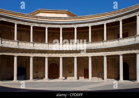 Palace of Charles V, Alhambra Palace, UNESCO World Heritage Site, Granada, Andalucia, Spain, Europe - Stock Photo