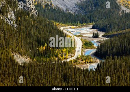 Sunwapta River and Icefields Parkway, winding through Jasper National Park, Alberta, Canada.