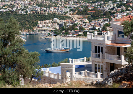 Gulet anchored at Kalkan, a popular tourist resort, Antalya Province, Anatolia, Turkey, Asia Minor, Eurasia - Stock Photo