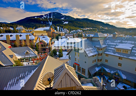 View of Whistler Mountain seen from the Pan Pacific Hotel, Whistler Village, British Columbia, Canada. - Stock Photo