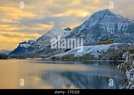 Prince Wales Hotel overlooking Middle Waterton - Stock Photo