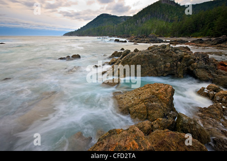 Rugged coastline along the West Coast at Cape Palmerston, Northern Vancouver Island, Vancouver Island, British Columbia, - Stock Photo