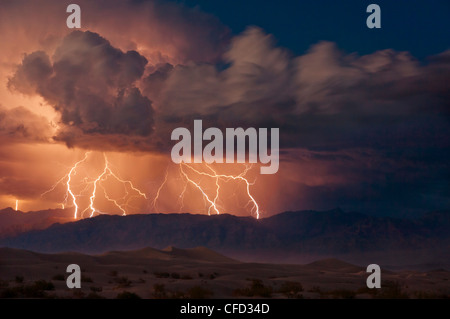 Electrical storm over the Amargosa Range, Mesquite Flats, Stovepipe Wells, Death Valley National Park, California, USA