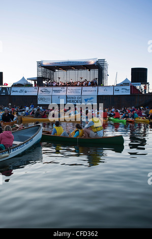 Inner Harbour crowds at annual Symphony splash event, Victoria, British Columbia, Canada - Stock Photo