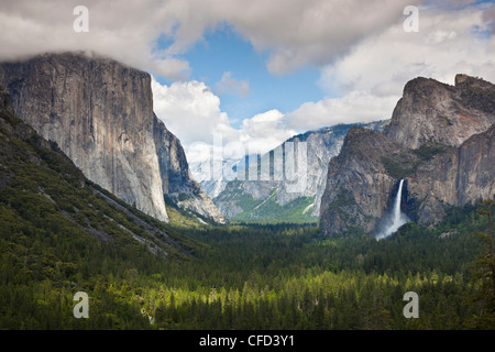 Yosemite Valley with El Capitan and the Bridalveil Falls on the right, Yosemite National Park, Sierra Nevada, California, - Stock Photo